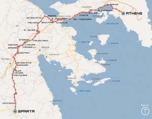 Carte du Sparthatlon en Grèce en 2009