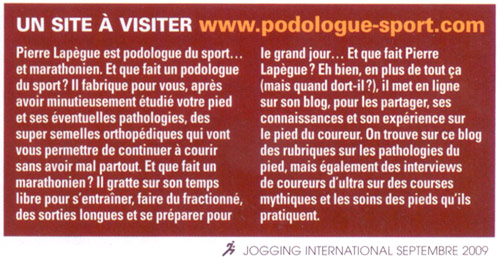 Podologue du Sport dans Jogging International (n° 299)
