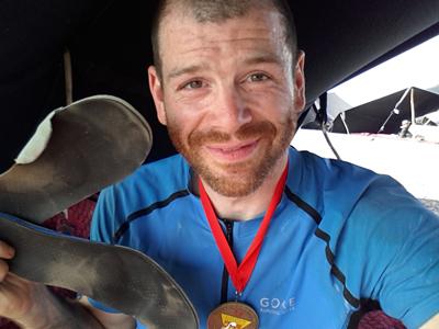 Fréderic qui vient de boucler son premier Marathon des Sables